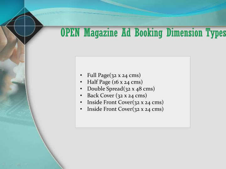 OPEN Magazine Ad Booking Dimension Types