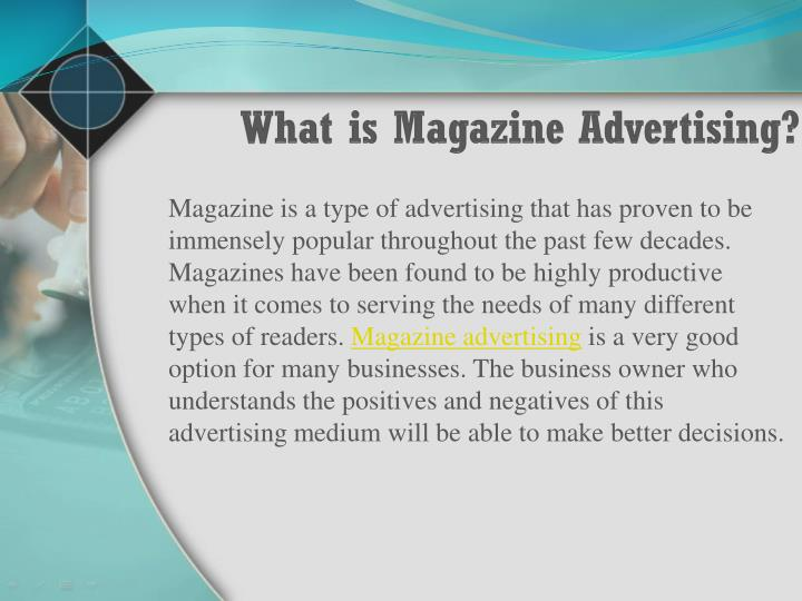 What is magazine advertising