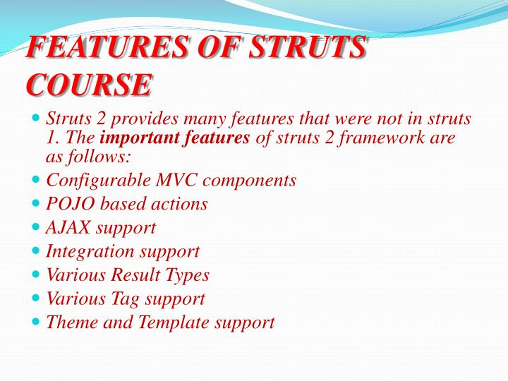 Features of struts course