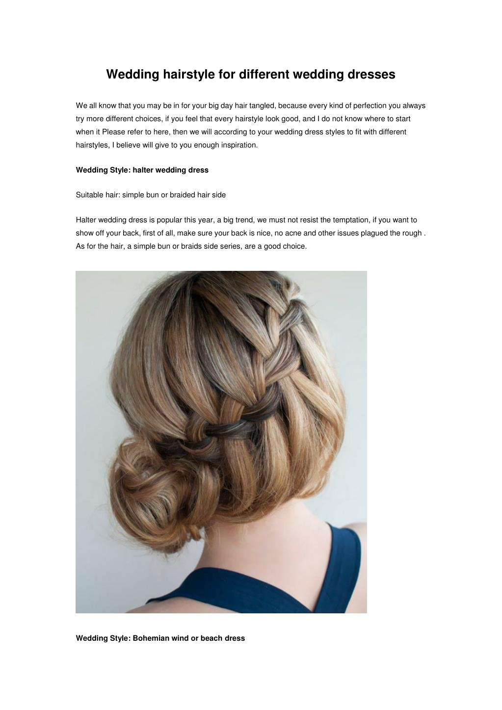 Ppt Wedding Hairstyle For Different Wedding Dresses Powerpoint