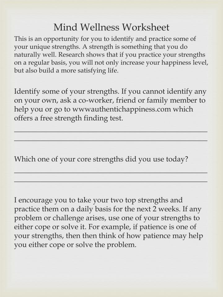 Mind Wellness Worksheet