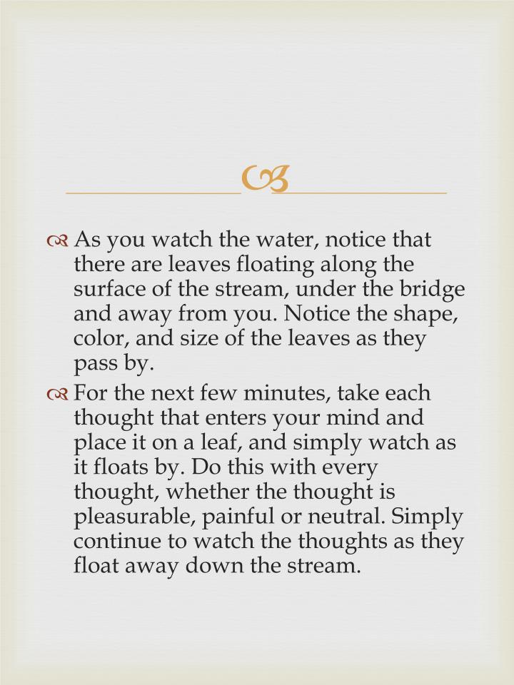 As you watch the water, notice that there are leaves floating along the surface of the stream, under...