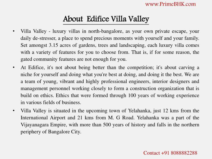 About edifice villa valley