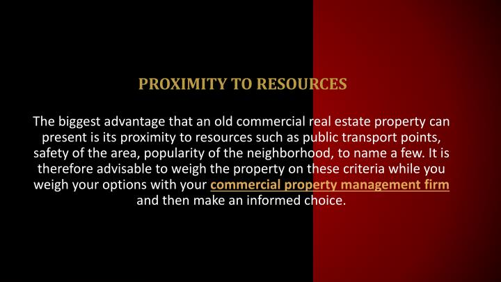 Proximity to resources