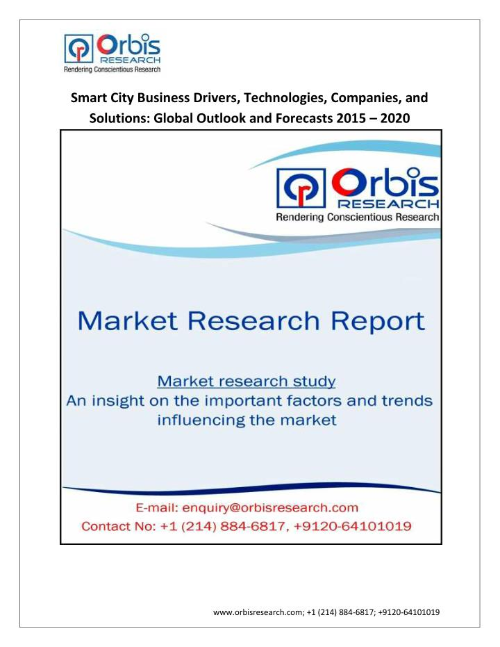 Smart City Business Drivers, Technologies, Companies, and