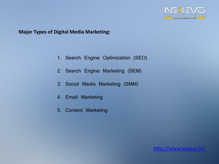 Major Types of Digital Media Marketing: