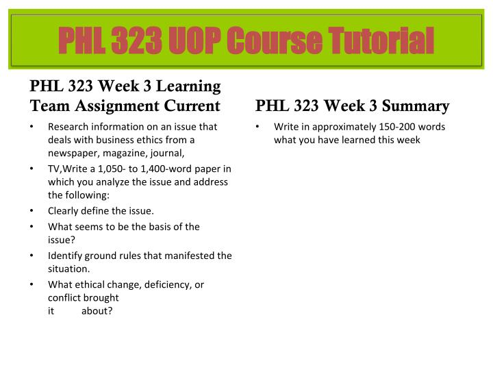 PHL 323 Week 3 Learning Team Assignment Current