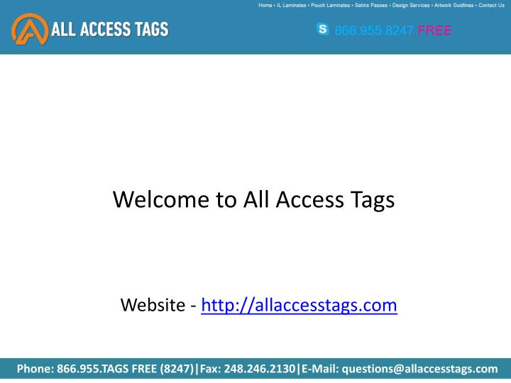 Welcome to All Access Tags