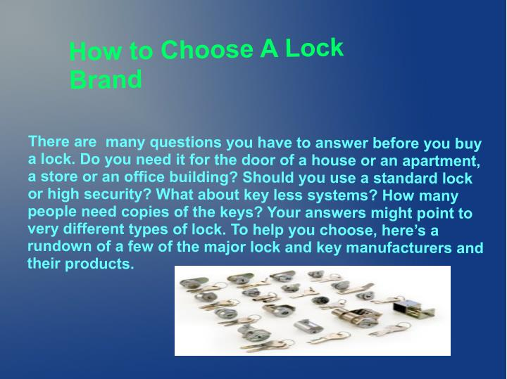 How to Choose A Lock