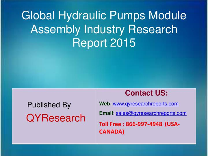 Global Hydraulic Pumps Module