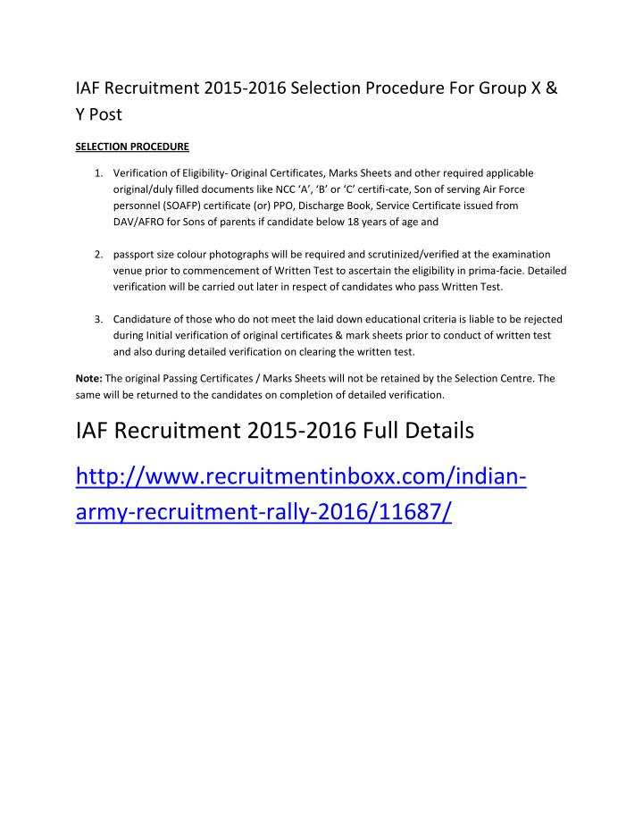 PPT - IAF Recruitment 2015-2016 Selection Procedure for Group X & Y