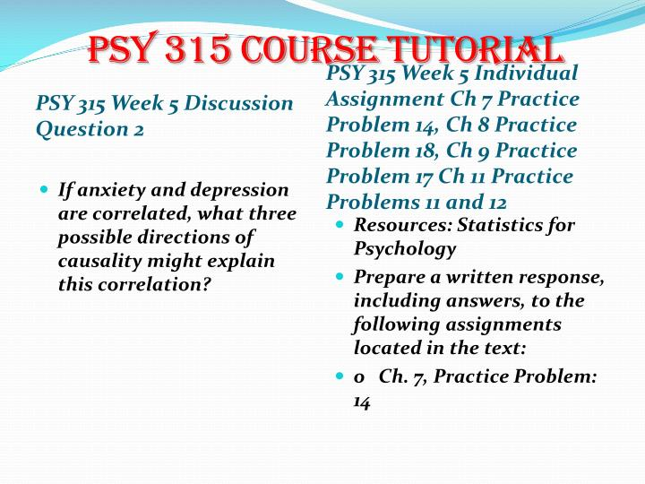 psy 315 week 3 practice answers