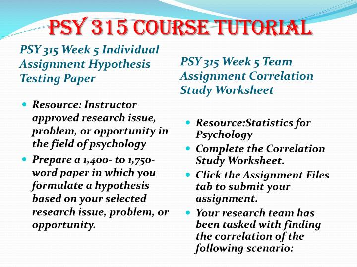 psy 315 hypothesis testing