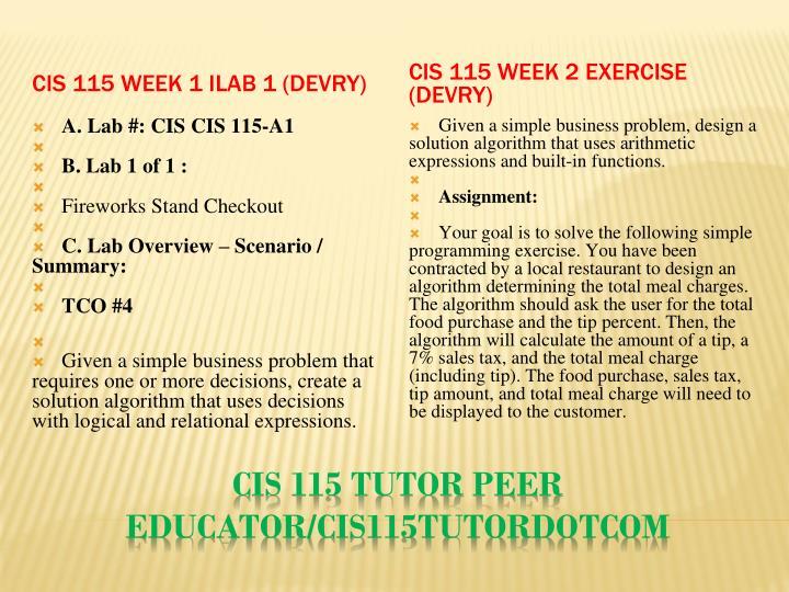 CIS 115 Week 1