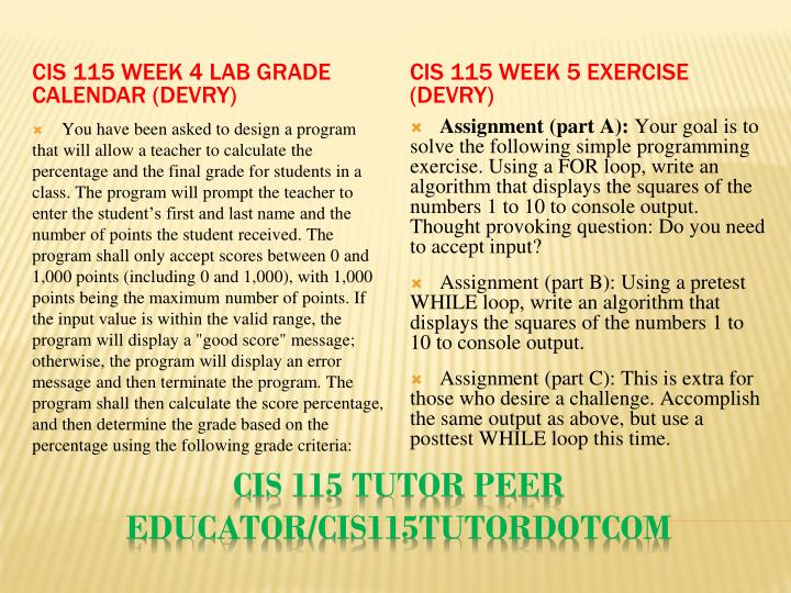 CIS 115 Week 4 Lab Grade Calendar (