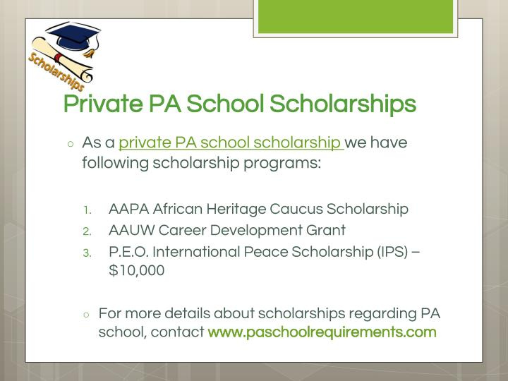 Private PA School Scholarships