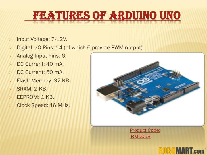 FEATURES OF ARDUINO UNO