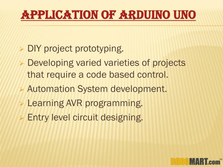 APPLICATION OF ARDUINO UNO