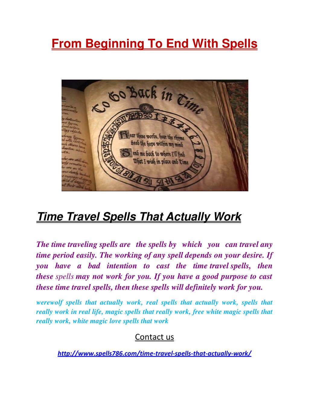 PPT - Time Travel Spells That Actually Work PowerPoint Presentation