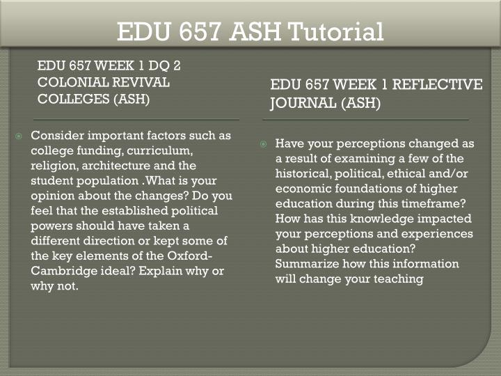 EDU 657 ASH Tutorial