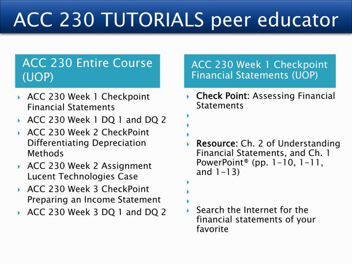 assessing financial statements for acc230 week Acc 225 week 6 assignment- estimating inventory and preparing multiple-step and single-step income statements resource: fundamental accounting principles, pp 251 and 256 due date: day 7 [individu.