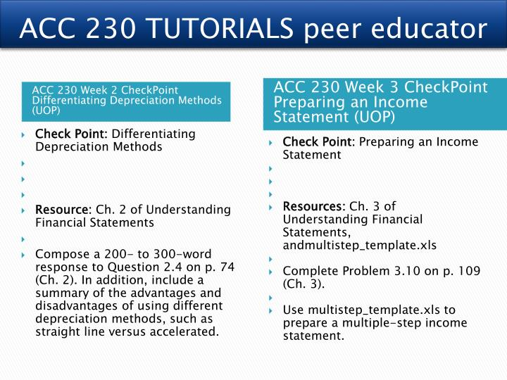 acc 230 week 3 checkpoint preparing This work of acc 230 week 3 checkpoint contains: preparing an income statement acc 230 week 3 checkpoint preparing an income statement dr.