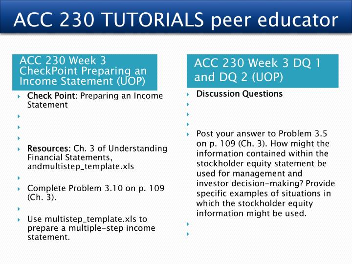 ac 230 week 3 checkpoint preparing an income statement