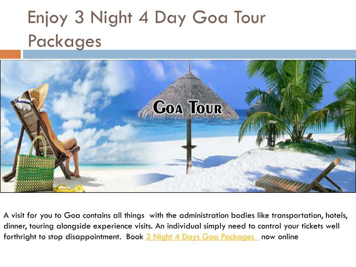 enjoy 3 night 4 day goa tour packages n.
