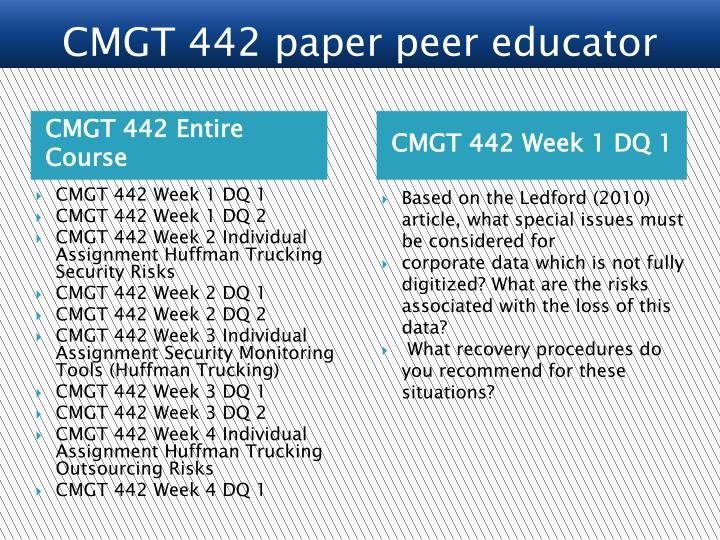 cmgt 442 week 4 individual assignment Assignment e help is a worldwide online academic network for cmgt 442 online courses that cmgt 442 individual cmgt 442 week 4 huffman trucking.