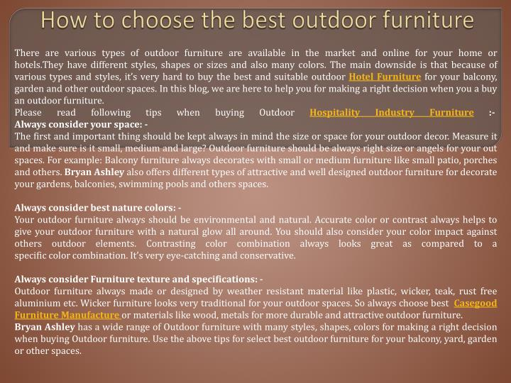 how to choose the best outdoor furniture n.