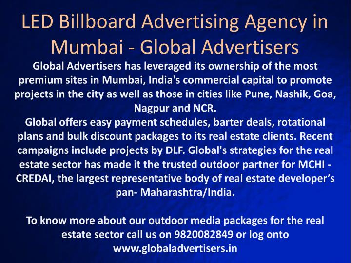 LED Billboard Advertising Agency in Mumbai - Global Advertisers