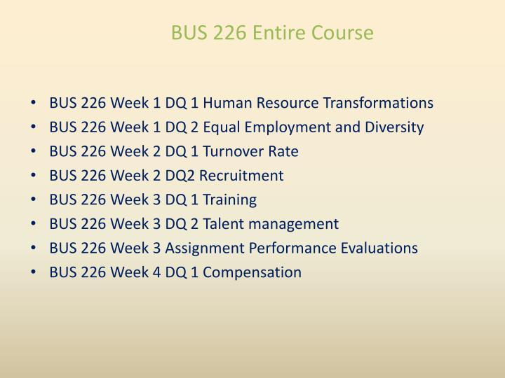 Bus 226 entire course