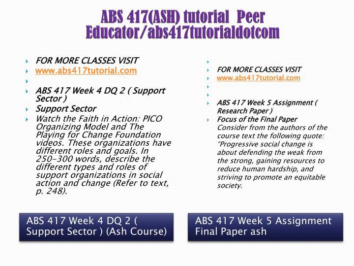 ABS 417(ASH) tutorial  Peer Educator/abs417tutorialdotcom