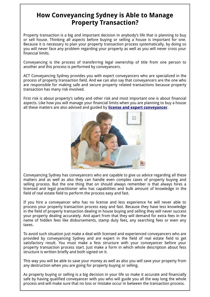 How Conveyancing Sydney is Able to Manage