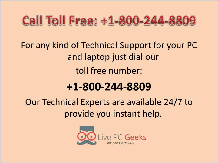 Call Toll Free: +1-800-244-8809