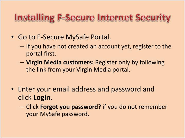 Installing F-Secure Internet