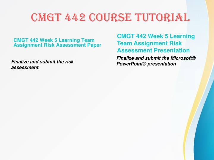 CMGT 442 Week 5 Learning Team Assignment Risk Assessment Paper