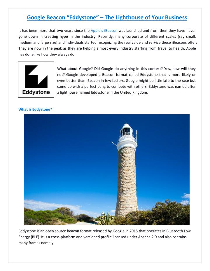 """PPT - Google Beacon """"Eddystone"""" – The Lighthouse of Your"""