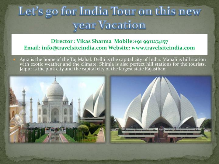 Let s go for india tour on this new year vacation1