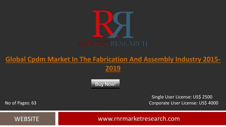 Global cpdm market in the fabrication and assembly industry 2015 2019