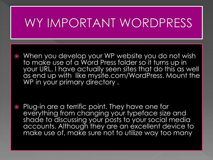 Wy important wordpress
