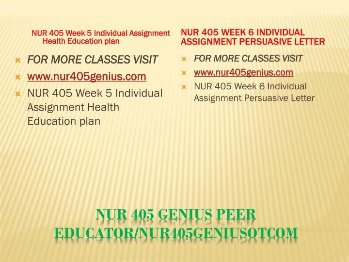 NUR 405 Week 5 Individual Assignment Health Education plan