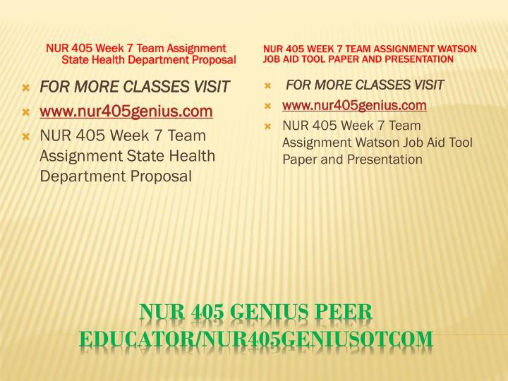 NUR 405 Week 7 Team Assignment State Health Department Proposal