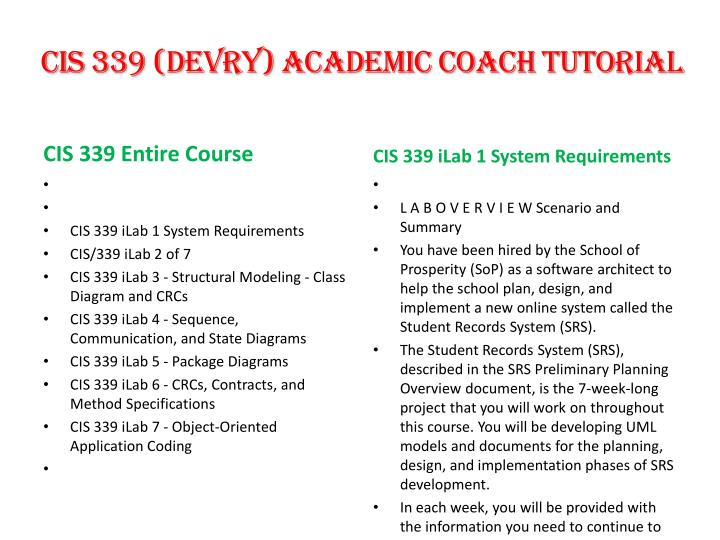 cis 339 (devry) academic coach tutorial