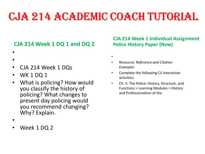 cja 214 week 3 learning team paper Cja 214 week 4 learning team assignment: personal side of policing q&a response cja 214 week 4 individual assignment: officer selection process paper cja 214 week 5.