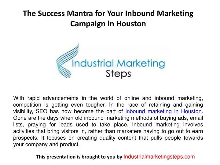 the success mantra for your inbound marketing campaign in houston n.