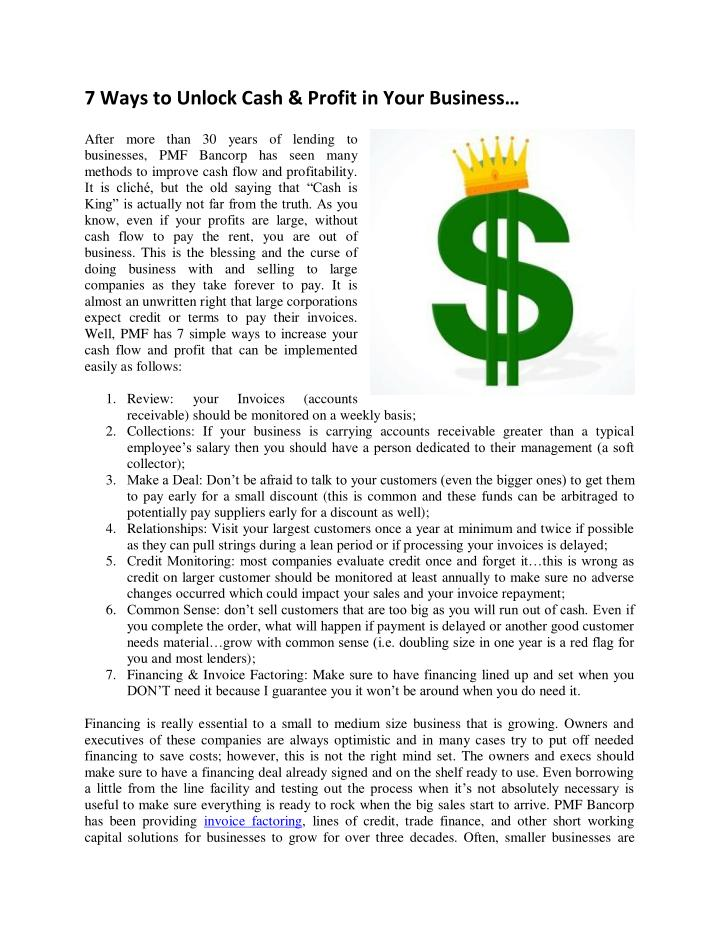 7 Ways to Unlock Cash & Profit in Your Business…