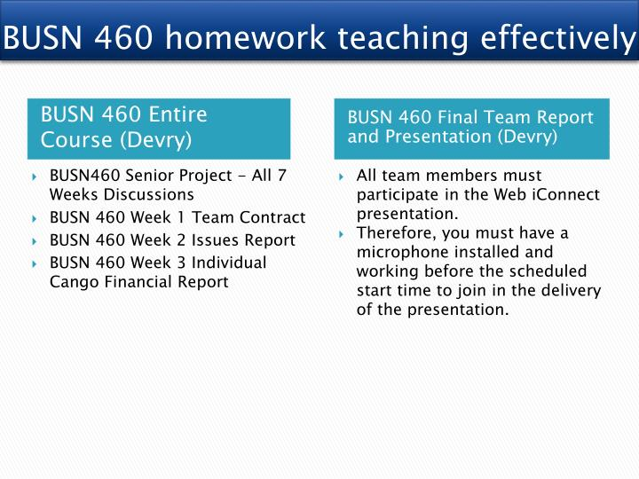 busn 460 senior project final presentation Transcript of busn 460 senior project team video, assignment, discussion assignment, discussion, final presentation.