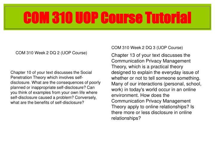 COM 310 UOP Course Tutorial