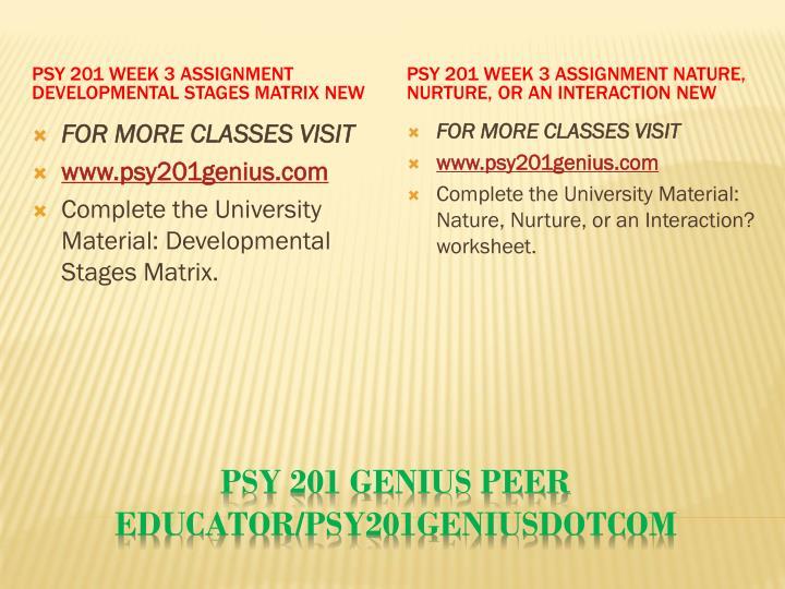 PSY 201 Week 3 Assignment Developmental Stages Matrix New